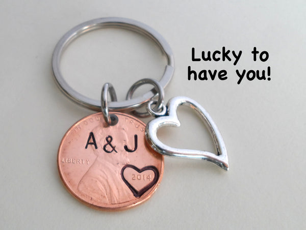 Anniversary Gift • Personalized Penny Keychain Stamped w/ Heart Around the Year & Initials w/ Anniversary Date & Heart Charm