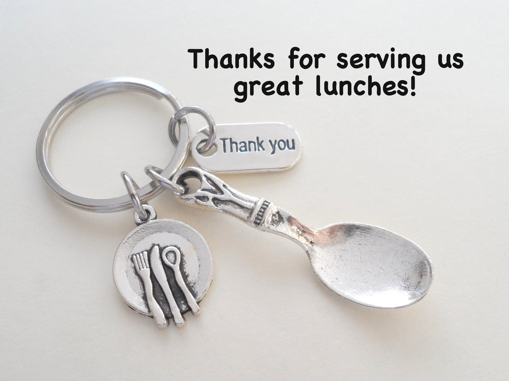 School Lunch Serving Spoon Keychain, Appreciation Gift, Gift for School Lunch Lady, School Lunch Staff, Lunch Aid Gift, Thank You Gift