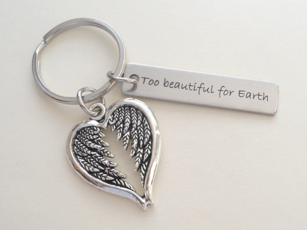 Wings Charm and Custom Engraved Steel Tag Keychain, Memorial Gift Keychain