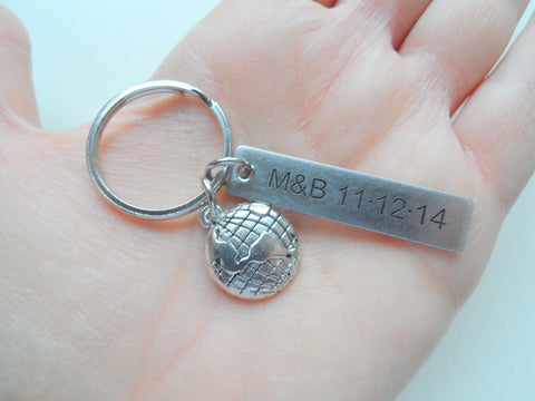 World Globe Keychain - You Mean The World To Me; Couples Keychain