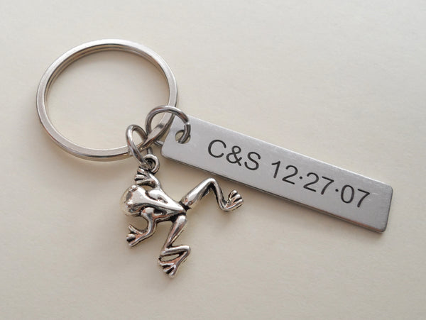 Frog Prince Keychain with Custom Engraved Stainless Steel Tag; Couples Keychain