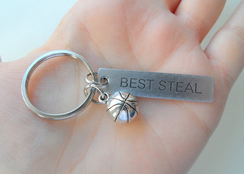 "Basketball Keychain and Steel Tag Engraved with ""Best Steal"" Basketball Fan Keychain Gift"