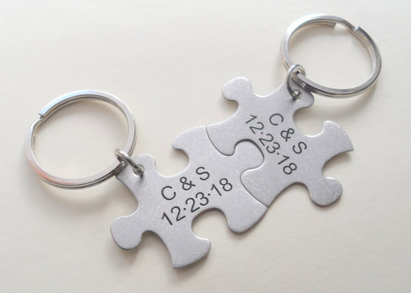 Custom Engraved Matching Steel Puzzle Keychains With Initials, Couples Keychains, Best Friend Gift