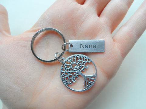 Custom Engraved Tag & Family Tree Keychain, Family Reunion Gift - Our Roots Are As One