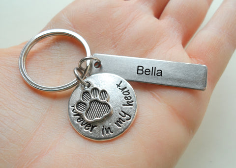 Dog Memorial Keychain • Custom Engraved Tag with Forever in My Heart Disc & Paw Charm | JE
