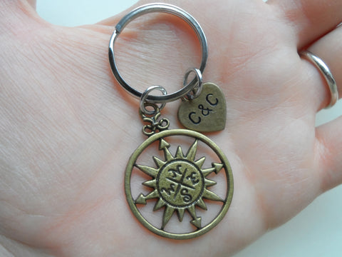 Bronze Sun Compass Keychain - I'd Be Lost Without You; Couples Keychain, Custom Engraved Tag Option