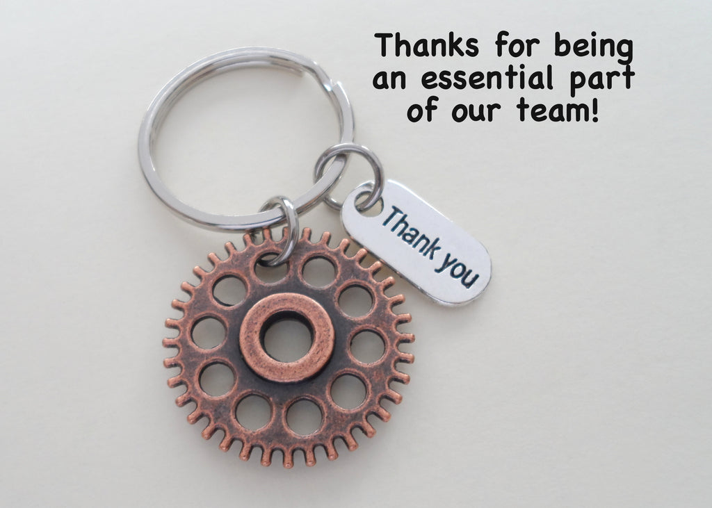 "Employee Appreciation Gifts • Copper Gear Keychain by JewelryEveryday w/ ""Thanks for being an essential part of our team!"" Card"