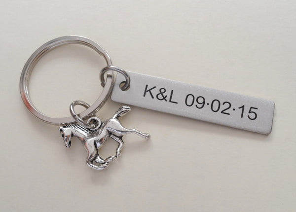 Personalized Horse Keychain and Steel Tag Custom Engraved, Gift for Couples, or Instructors