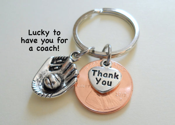 Coach Appreciation Gift • Thank You Penny Keychain with Sport Charm | Jewelry Everyday