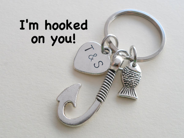 Personalized Fish Hook Keychain with Tiny Fish - I'm Hooked On You; Couples Keychain
