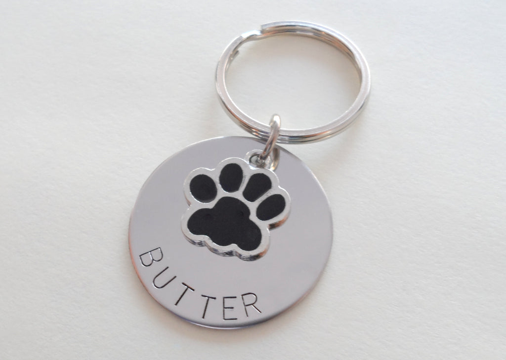 Personalized Pet Memorial Keychain Engraved with Name on Disc, Dog Memorial Keychain | JE