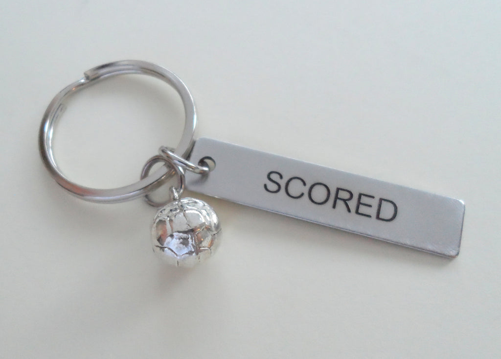 "Soccer Ball Keychain and Steel Tag Engraved with ""Scored"", Soccer Keychain Gift"