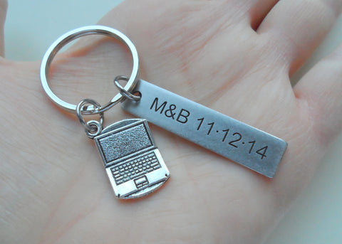 Custom Engraved Computer Keychain with Laptop Charm, Computer Engineer Keychain, Gamer Gift