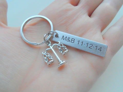 Custom Engraved Law Keychain with Scales of Justice Charm, Law Student Keychain, Lawyer Gift