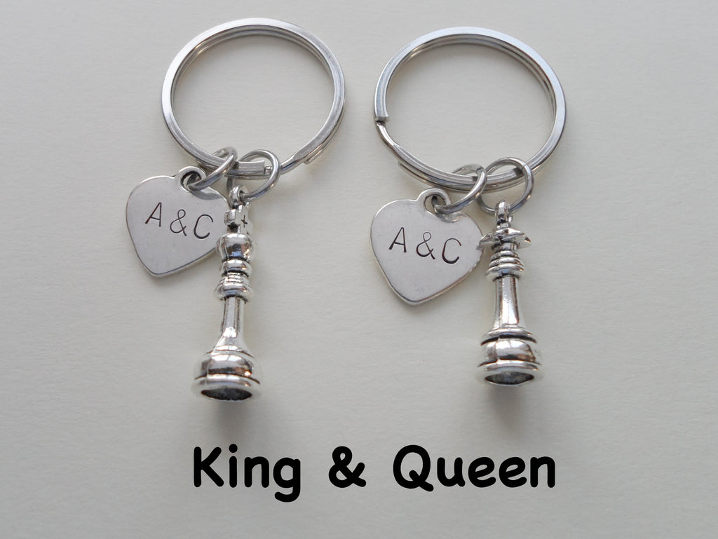 Chess Piece Charm Keychains, King and Queen Set - Couples Keychain Set, Custom Engraved Tags Option