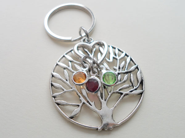 Personalized Family Tree Keychain with Birthstone Charms, Gift for Mom or Grandma