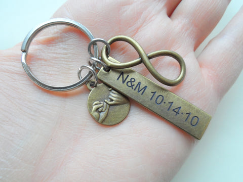 Bronze Infinity Symbol & Pinky Promise Charm Keychain with Custom Engraved Tag, Couples Gift, 8 Year Anniversary or 19 Year Anniversary Gift