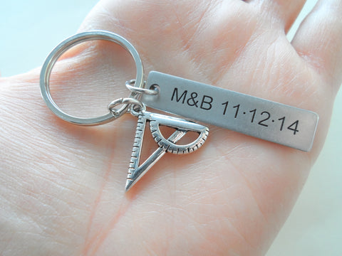 Custom Engraved Architect Keychain with Square and Protractor Charm, Mathematician Keychain, Engineer Gift