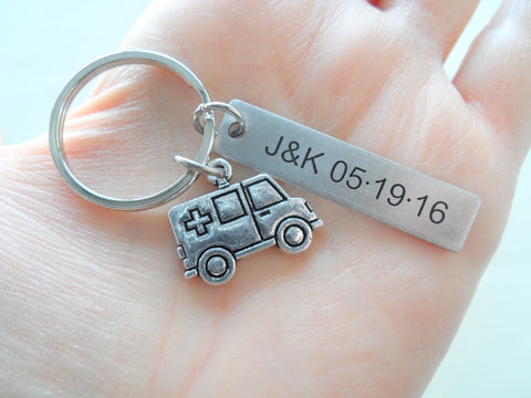 Custom Engraved EMT Keychain with Ambulance Charm, Paramedic Keychain, Medical Student Gift
