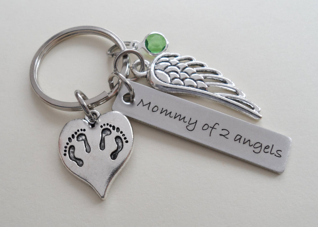 Personalized Twin Babies Memorial Keychain, Twins Feet Heart Charm & Wing Charm by JewelryEveryday