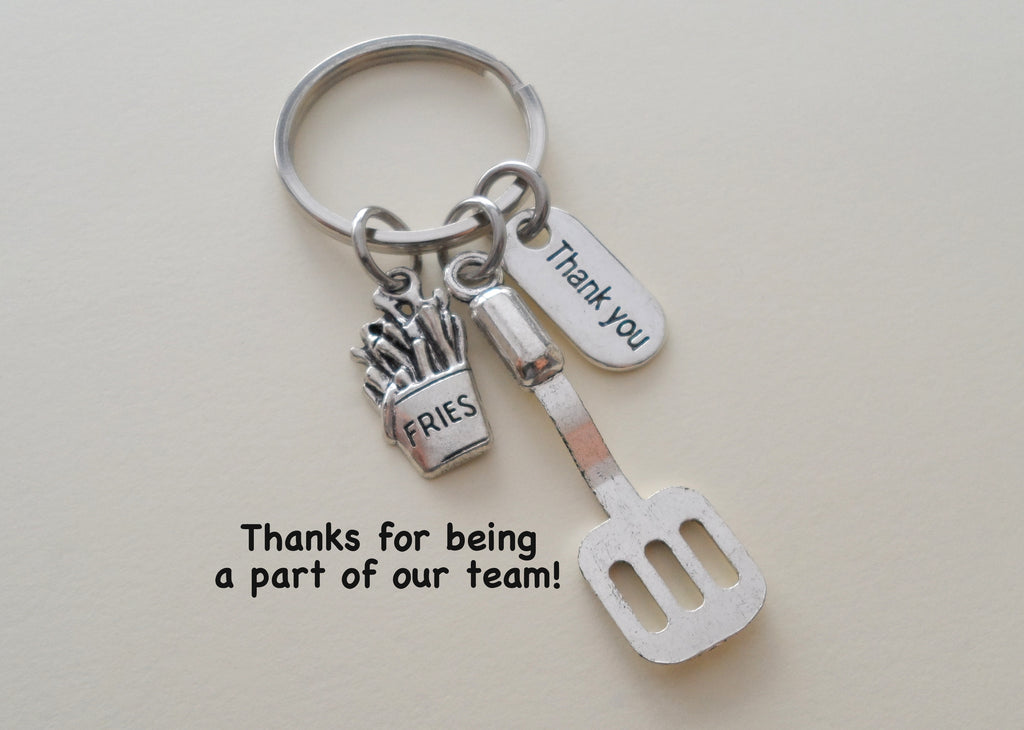 French Fries and Spatula Keychain, Fast Food Employee Appreciation Gift, Gift for Cooking Staff, Restaurant Team Gift, Thank You Gift
