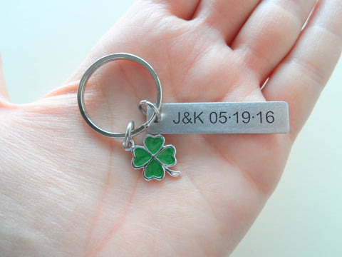 Personalized Stainless Steel Tag Keychain and Green Clover Charm, Custom Engraved Keychain; Couples Keychain, Anniversary Keychain