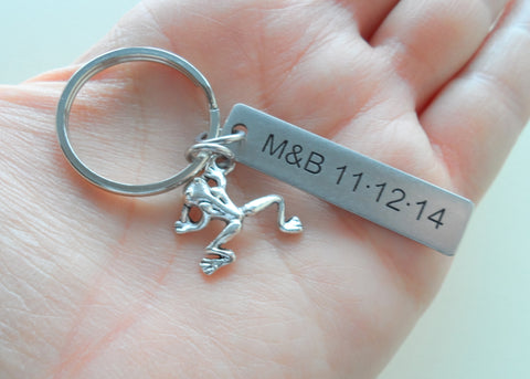 Frog Prince Keychain and Princess Shoe Keychain with Stainless Steel Tag Custom Engraved; Couples Keychains
