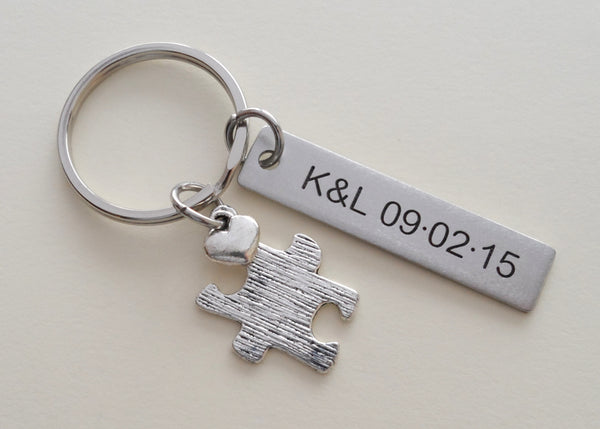 Textured Puzzle Charm Keychain With Custom Engraved Stainless Steel Tag, Couples Keychain