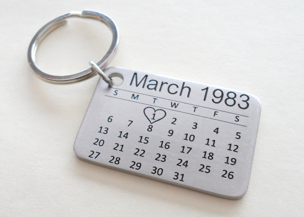 Personalized 11 Year Anniversary Gift • Stainless Steel Calendar Keychain Engraved with Heart; Custom Engraved Backside Options