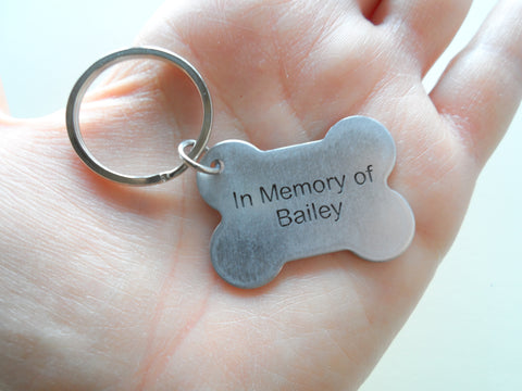 "Personalized Pet Memorial Dog Bone Keychain Custom Engraved with ""In Memory of"" and Name, Dog Memorial Keychain 
