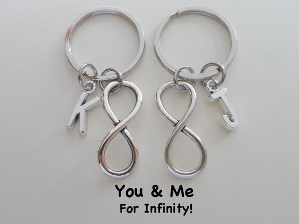 Personalized Double Infinity Charm Keychains with Letter Charms; Couple Keychains, Best Friends Keychains
