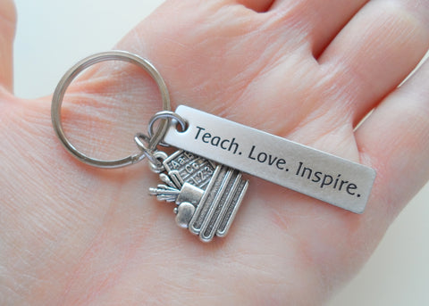 "Teacher Appreciation Gifts • ""Teach, Love, Inspire!"" Engraved Steel Rectangle Tag w/ Apple & Books Charm Keychain by JewelryEveryday"