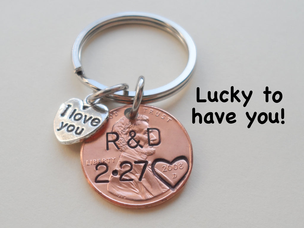 "Anniversary Gift • Personalized Penny Keychain Stamped w/ Heart Around the Year & Initials w/ Anniversary Date & ""I Love You"" Heart Charm"