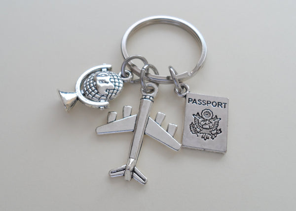 Airplane, Globe, and Passport Charm Keychain, Airport Staff Gift, Graduation Gift, Gift for Graduation, Graduate Gift, Going Away Gift
