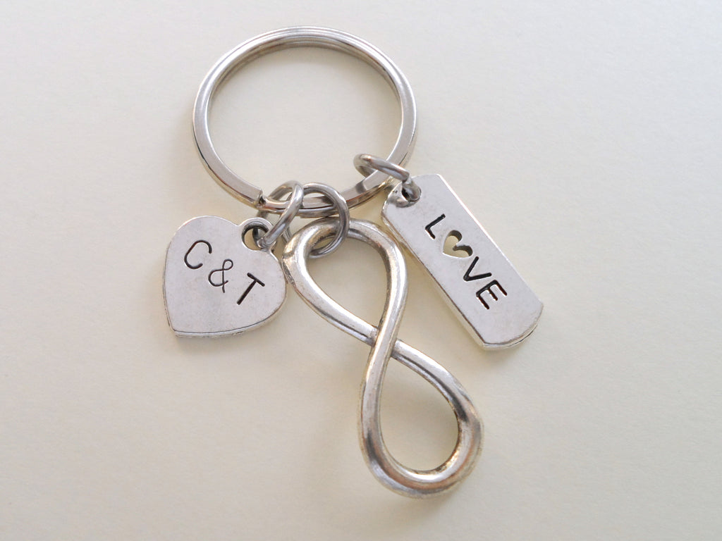 Love Tag with Infinity Symbol Keychain - You and Me for Infinity; Couples Keychain, Custom Engraved Tag Option