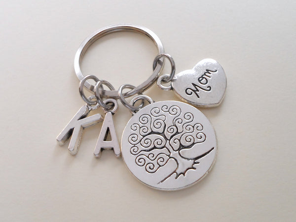Mom Tree Keychain for Mom, Mother's Day Gift, Custom Letter Charm Options