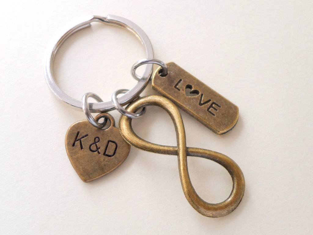 Love Tag with Bronze Infinity Symbol Keychain - You and Me for Infinity; Couples Keychain, Custom Engraved Tag Options