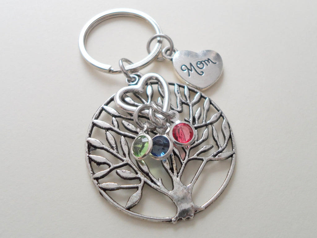 Personalized Family Tree Keychain with Birthstone Charms, Gift for Mom, or Grandma