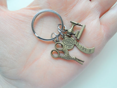 Bronze Sewing Keychain, Scissors Charm, Sewing Machine Charm, Appreciation Gift, Gift for Mom, Teacher Gift