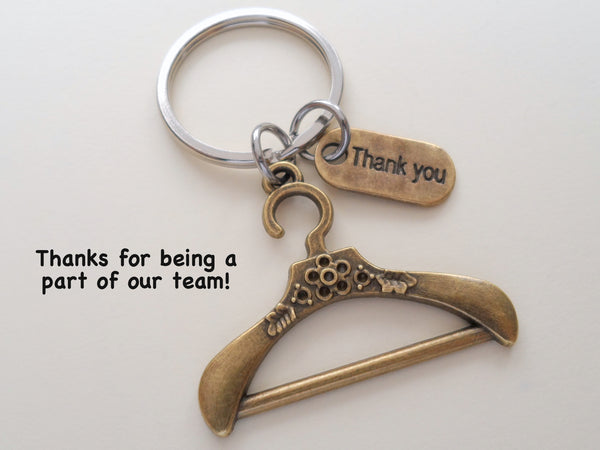 Bronze Clothes Hanger and Thank You Charm Keychain, Clothing Store Employee Appreciation Gift, Gift for Clothing Store Staff