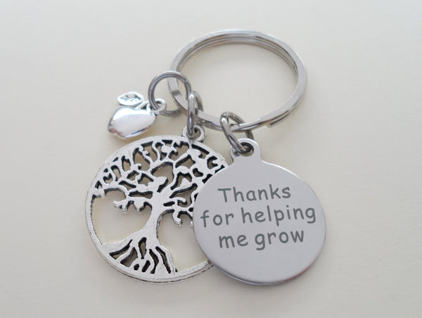 "Teacher Appreciation Gifts • ""Thanks for helping me grow!"" Tag, Tree Charm, & Apple Charm Keychain by JewelryEveryday"