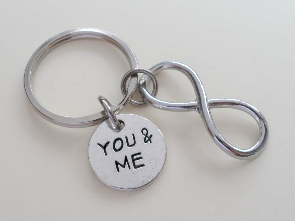 "Infinity Symbol Keychain with ""You & Me"" Circle Charm - You and Me for Infinity; Couples Keychain"