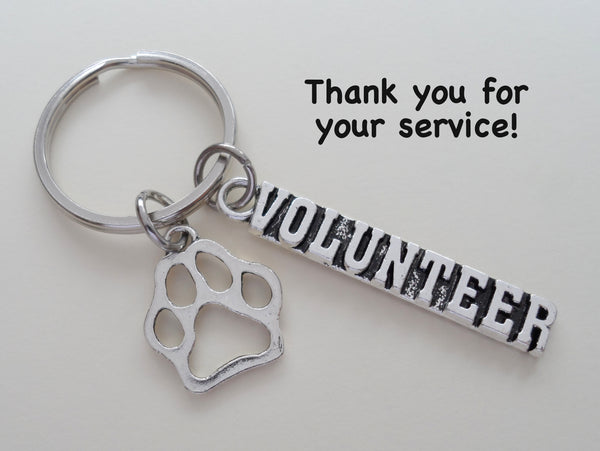 Animal Shelter Volunteer Appreciation Gift Keychain with Open Paw Charm, Animal Rescue Volunteer Gift, Humane Society Volunteer, Thank You Gift