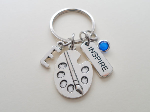 "Art Palette Charm Keychain with ""Inspire"" Tag Charm, Add-on Letter and Birthstone Charm Options"