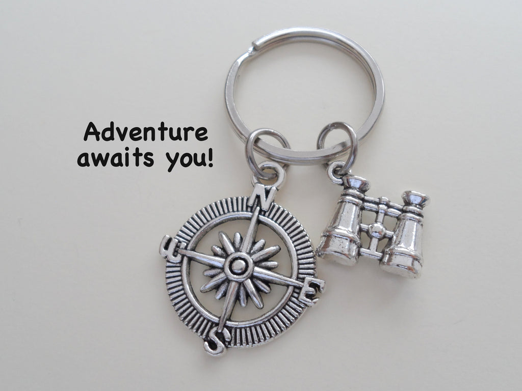 "Binoculars and Compass Keychain - ""Adventure Awaits You"""
