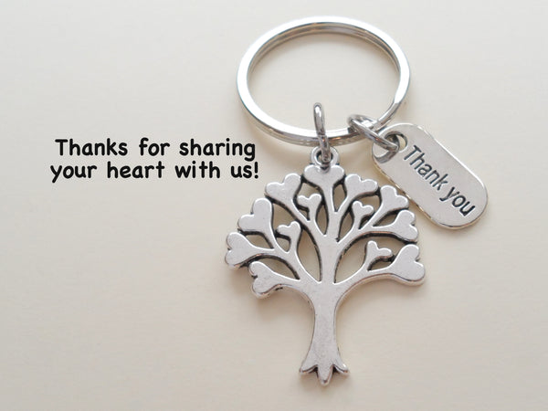"Caregiver, Home Aid Caretaker, or Teacher Keychain Gift, Tree with Hearts and ""Thank You"" Charm w/ Thanks for sharing your heart with us"" Card by JewelryEveryday"