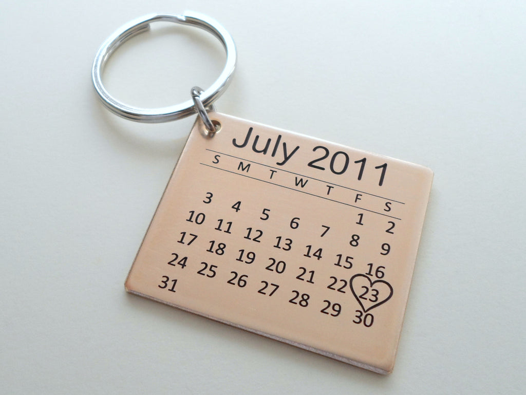 Personalized 8 Year Anniversary Gift • Bronze Calendar Keychain Engraved with Heart; Custom Engraved Backside Options