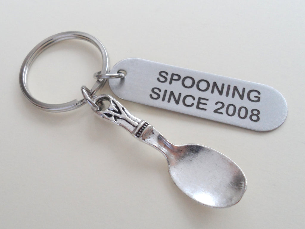 """Spooning Since"" Stainless Steel Keychain w/ Spoon Charm by Jewelry Everyday, Customize the Year"