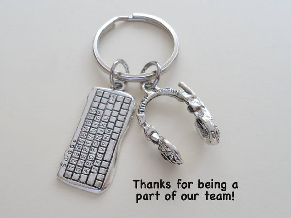 Call Center Staff Gift Keychain, Computer Keyboard Charm and Head Set Charm Keychain, Employee Appreciation Gift, Team Gift, Work Gift