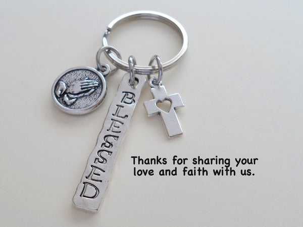 Religious Teacher Gift Keychain, Praying Hands Charm, Cross Charm & Blessed Charm Keychain, Neighbor Gift, Thank you Gift, Gift For Friend